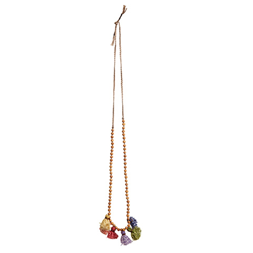 Collier pompons multicolores chinés