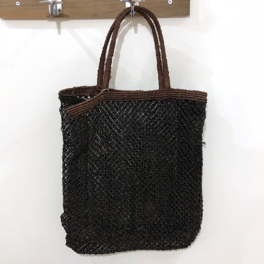 Cabas macramé noir et bords marrons